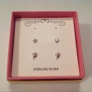 Children's Sterling Silver Earrings 2 Pair New